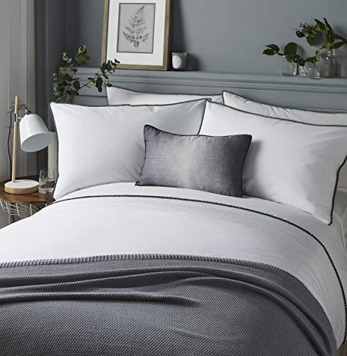 Serene - Pom Pom - Easy Care Duvet Cover Set | Super-King Size | White Bedding with Grey Pom Poms