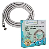 PurrfectZone Shower Hose Replacement - perfect for Shower or Bidet Sprayer, easy installation (98 inch, Brushed Nickel)