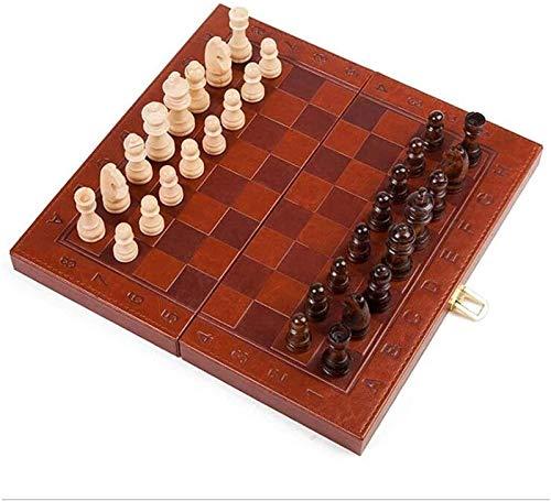 Djrh Conjunto de ajedrez de metal de piezas estándar hechas a mano, ajedrez internacional con tablero de ajedrez de madera plegable y clásico de ajedrez de madera para adultos y niños, amigos se reúne