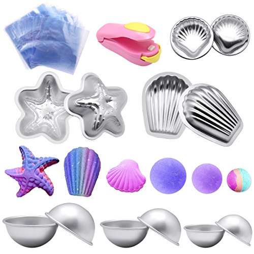 Bath Bomb Models kit,Yotako DIY Metal Bath Models Bomb Shapes 6 Sets 12 Pieces with 50 Shrink Warp Bags and 1 Pieces Mini Heat Sealer for Bath Bomb Making,Handmade Soaps and Crafts
