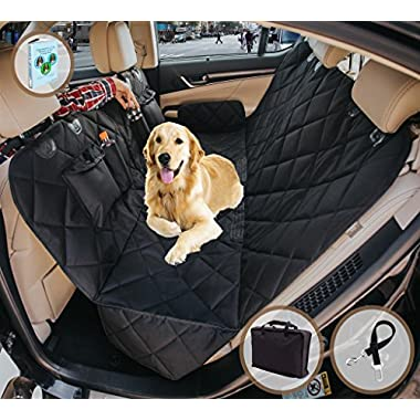 EVOest Dog Car Seat Cover for Cars/Trucks/SUV's,Hammock Convertible, Waterproof Pet Backseat Protector with Extra Side Flaps, Bonus Pet Seat Belt & Carry Bag by (Medium)