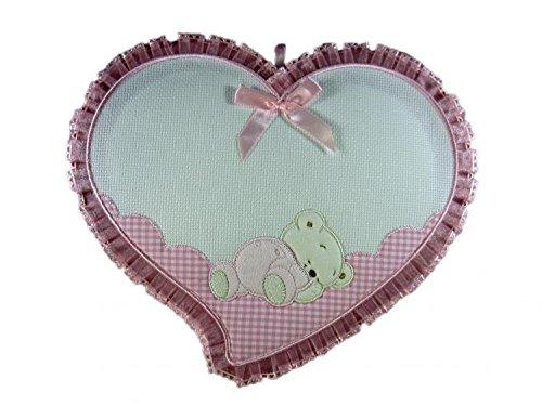 Lazo para nacimiento, corazón con osito insertado en aida para bordar a punto de cruz. Bordar el nombre del bebé. Rosa hecho a mano.