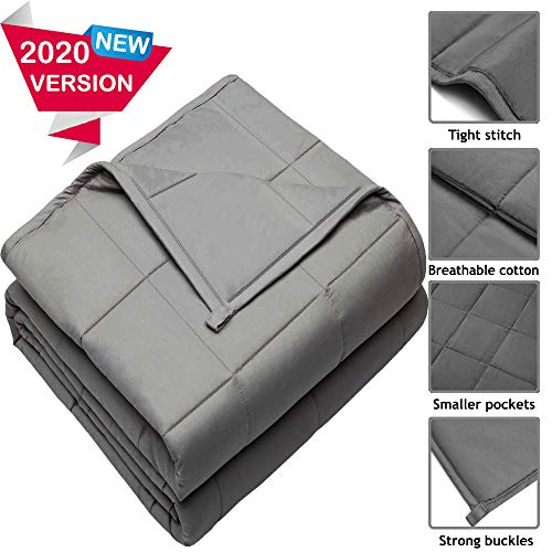 HomeGurus Weighted-Blanket Soft Material for Sleeping Calming and Relaxing Comforter Cool Heavy Bed Blankets for Adults Kids Toddler and Family (40x59 inch 10 lbs, Grey)
