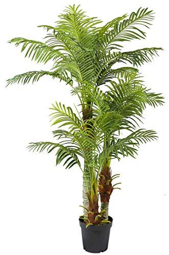 Arnusa Große Künstliche Palme Deluxe 180cm mit 3 Stämmen und 26 Palmenwedel Kunstpflanze Kunstpalme Zimmerpflanze