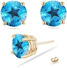 5.29-6.20 Cts of 8 mm AA Texas Star Swiss Blue Topaz Stud Earrings in 14K Yellow Gold
