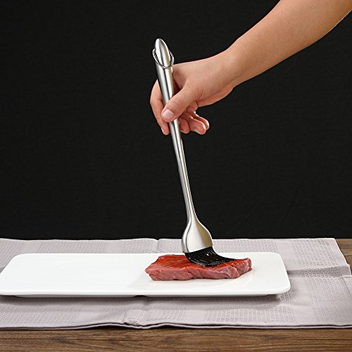 Heavy-duty BBQ Basting Brush by HQY - Silicone Bristles with 12 Inch Stainless Steel Handle - Make Grilling Easy - 5 Year Guarantee