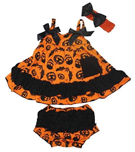 Petitebelle citrouille Tête de mort Bats Orange Couvercle basculant bloomer Ensemble de pantalon pour bébé Nb-24 m - Orange - M