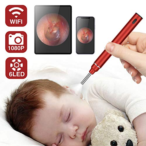 Ear Wax Removal Endoscope, Otoscope Wireless Ear Camera 1080P HD WiFi Ear Scope, 3.9mm Ear Otoscope with 6LED Lights, Earwax Removal Tools, Compatible with iPhone, iPad & Android Phones