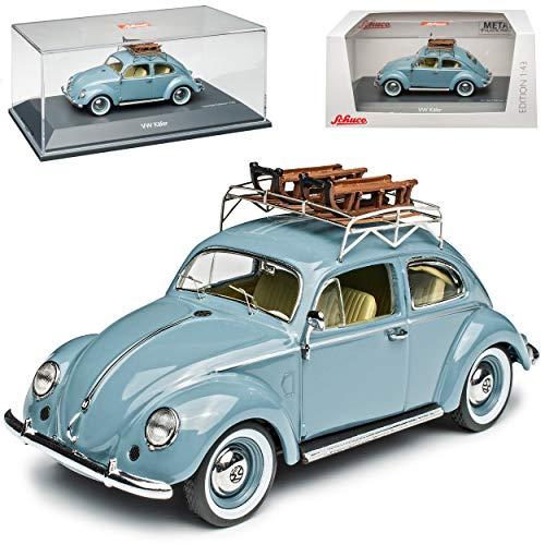 Volkwagen Käfer Coupe Blau Grau Brezel mit Schlitten 1/43 Schuco Modell Auto Modell Auto