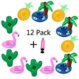 Aoutacc Floating Drink Holders, 12 Pack Inflatable Palm Tree Flamingos Pineapple Cactus Drink Cup Holders Pool Cup Holders Coasters for Summer Pool Party
