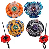 Burst Battle Metal Fusion Evolution Attack Set with 2 Launchers, 4 Battling Game Top Toy for Kids (H-9D)
