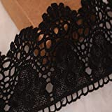Spitze, Muster: europäische Krone, unelastischer Spitzenbesatz, 9cm breit, ca. 3,7 m pro Packung, für Vorhänge, Schonbezüge, Brautschmuck, Kleidung, Accessoires Schwarz