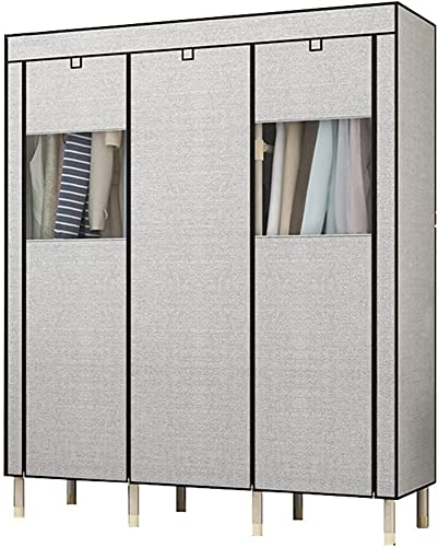 Armadio Camera da Letto Tessuto Grigio, creatività assemblaggio Camera da Letto Multifunzione Portatile con Porta con Cerniera Finestra visibile UOMUN (Size : B)