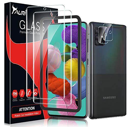 TAURI Panzerglas Kompatibel Mit Samsung Galaxy A51 2 Stück Galaxy A51 Schutzfolie & 2 Stück Galaxy A51 Kamera Panzerglas Alignment Frame Anti-Kratzen Öl Bläschen 9H Festigkeit HD Klar Bildschirmschutz