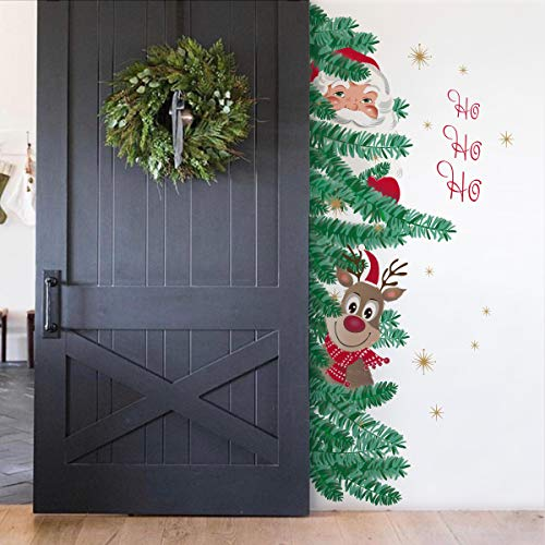 decalmile Christmas Wall Stickers Santa Claus with Rudolph Wall Decals Reindeer Party Door Window Home Decor(H: 54 Inches)