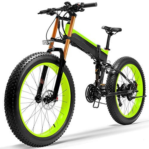 Bicicleta electrica, Bicicleta eléctrica de nieve fuerte, rueda de grasa de tamaño grande, freno de disco hidráulico dual y suspensión, batería de ion litio grande ( Color : Green+ , Size : 1000W )