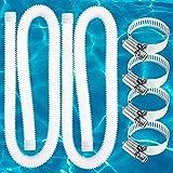 """LISINAN 1.25' Diameter Accessory Swimming Pool Pump Filter Replacement Hose 59"""" Long (2 Pack + 4 Locks)"""