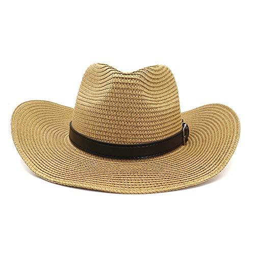 JIANGJINLAN 2919 western heren outdoor strand, cowboy strohoed strand, zonnehoed vizier riem decoratie zwart dames Big Sun Hat 56/58 cm khaki (dark khaki)