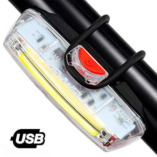 Bike Front Light USB Rechargeable-Super Bright LED Bicycle Headlight with Low Battery Indicator and Modes Memory Functions-Powerful Lumens for Cycling Safety Flashlight (White)
