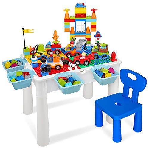 HGFDSA Mesa De Bloques De Construccion, Mesa De Aprendizaje Educativo para Ninos Mesa De Comedor Mesa De Almacenamiento De Juguetes Adecuado para Ninos Y Ninas De 3 a 10 Anos