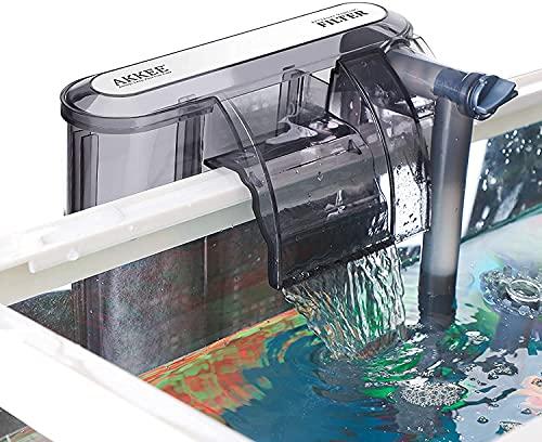 AKKEE Filtre Aquarium, Filtre Cascade Aquarium, Réglable Filtre Externe Aquarium, Filtre pour Aquarium, 2pcs Éponges Filtrantes, 200 L/H, Débit Réglable, pour Aquarium de 20 à 40L, EU Plug