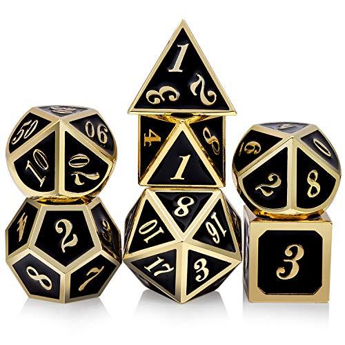 DNDND Conjunto de dados de metal D&D, 7 dados poliédricos de metal com caixa de metal e número dourado para jogos de RPG Dungeons and Dragons (preto e dourado)