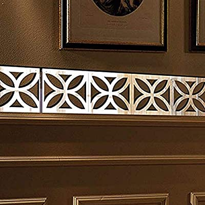 Surpaku AryclicWall Stickers Luxury 3D Mirrors Wall Stickers Self Adhesive DIY Acrylic Wall Sticker Silver Home Decoration Wall Stickers Removable Star Flower Acrylic Mirror Decor