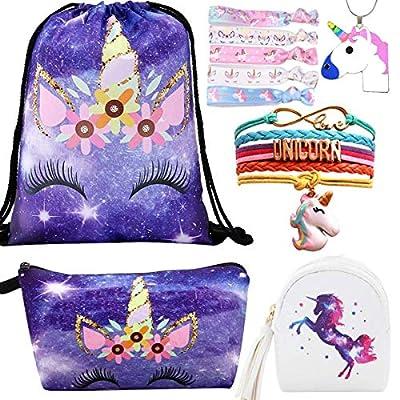 10 Paquete Lindo Unicornio Mochila con cordón/Maquillaje/PU Monedero Bolsos de Embrague/Collar de Cadena de aleación/Unicornios para el Cabello para niñas (Style 6)