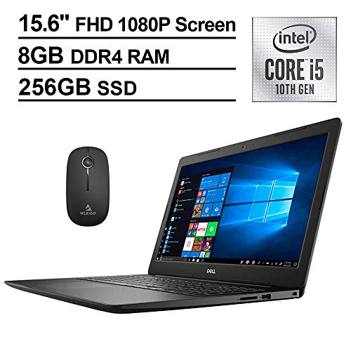 2020 Dell Inspiron 15 3593 15.6 Inch FHD 1080P Touchscreen Laptop (Intel 4-Core i5-1035G1 (Beats i7-7500U), 8GB RAM, 256GB NVME SSD, Backlit KB, Win10, Black) + NexiGo Wireless Mouse Bundle