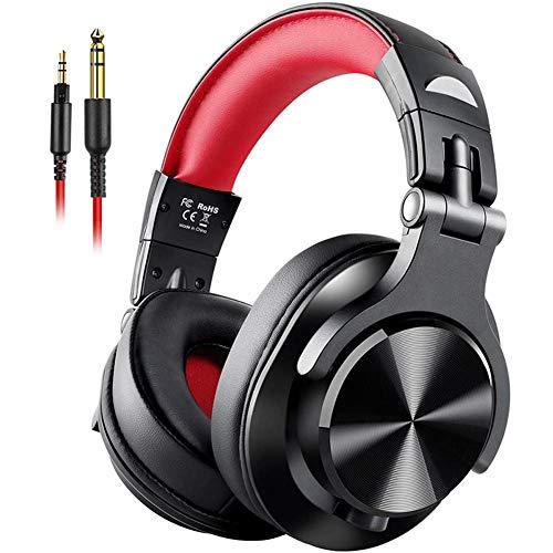 Auricular para Juegos PS4, Gaming Headset Auriculares DJ Estéreo A Través del Oído con Conexión De Cable De Auriculares con Micrófono para PC PS4 iOS Android,Rojo