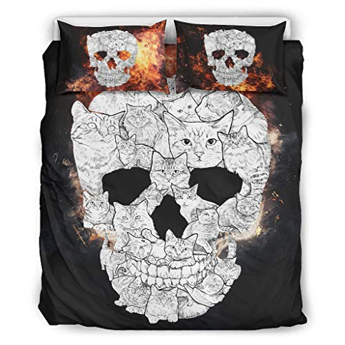 Generic Branded Bedding Set Cat skull All-Season&Soft 3 Piece Set(1 Quilt Cover&2 Pillowcases) Wrinkle white 104x90 inch