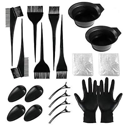 Hair Dye Color Brush Set Hair Color Mixing Kit Hair Dye Tools for DIY Salon Hair Dye Mixing Bowl Set (20 Pieces)
