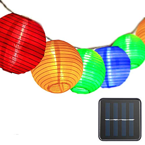 Solar String Lights Outdoor Lanterns, ONEVER Fairy Lights 30 LED Waterproof Outdoor Solar Lights Garden Chinese Lantern Solar Lamp for Party Christmas Balcony Garden Yard Decoration