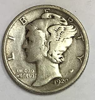 1920 P Mercury Dime 90% Silver 10c VG