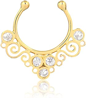 Carol Jewelry 18K Yellow Gold Septum Ring Non Piercing Nose Ring Hanger Clip on Hoop Synthetic Cubic Zircon CZ