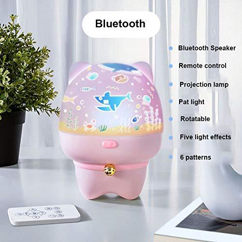 JZH-Light 3 in 1 LED sterrenhemel projectorlamp Bluetooth muziekspeler inductie nachtlicht beamer met afstandsbediening & Beat Control & Timer voor thuis/decoratie, roze