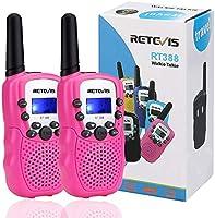 Retevis RT388 Kids Walkie Talkies PMR446 8 Channels Pink Walkie Talkie for Girls Flashlight VOX Children Toy Gifts for...