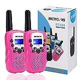 Retevis RT388 Walkie Talkie Niños PMR446 8 Canales LCD Pantalla Función VOX 10 Tonos de llamada Linterna Incorporado Walkie Talkie Niñas Juguete Regalo para Niños (Rosa, 1 Par)