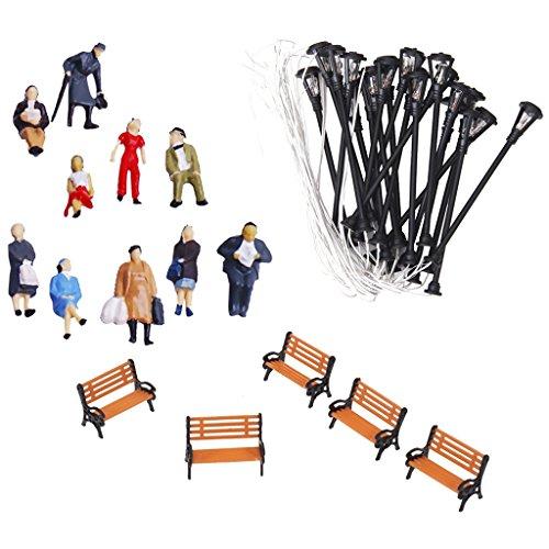 Sharprepublic Figure Di Persone 1:75 / Panchina 1: 100 / Lampione Luci Modelli 1:87 Layout Scenario