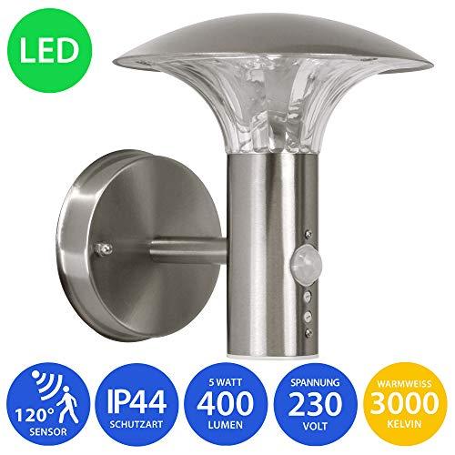 LED Aussenleuchte 5 Watt Wandleuchte Wandlampe Gartenleuchte Edelstahl 451 mit Bewegungsmelder