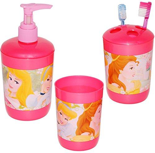 alles-meine.de GmbH 3 TLG. Zahnputzset -  Disney Prinzessin  - für Mädchen / Prinzessin - Seifenspender + Zahnputzbecher + Zahnbürstenhalter