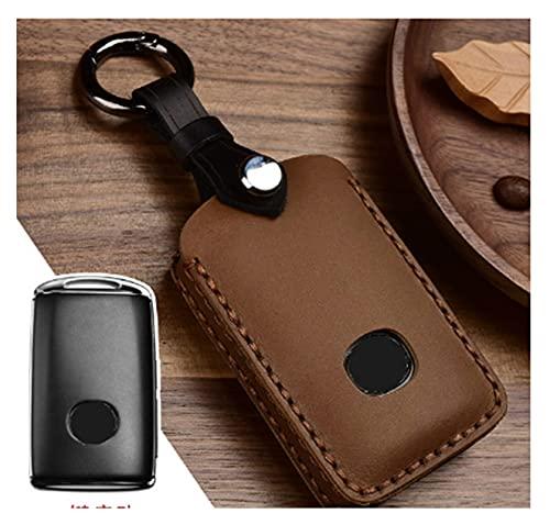 XINXIN LakerBig CUCHO Cray Cuero Hecho a Mano Cubierta de Claves de Clavija Caja de Clavija Ajuste para Mazda 3 Alexa CX4 CX5 CX8 2019 2020 3Button Smart Remote Car Key (Color Name : Brown)