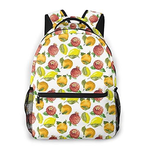 GKGYGZL Mochila para computadora portátil de viaje,Vitamina C Naranja de temporada Granada Limón1,mochila antirrobo resistente al agua para negocios