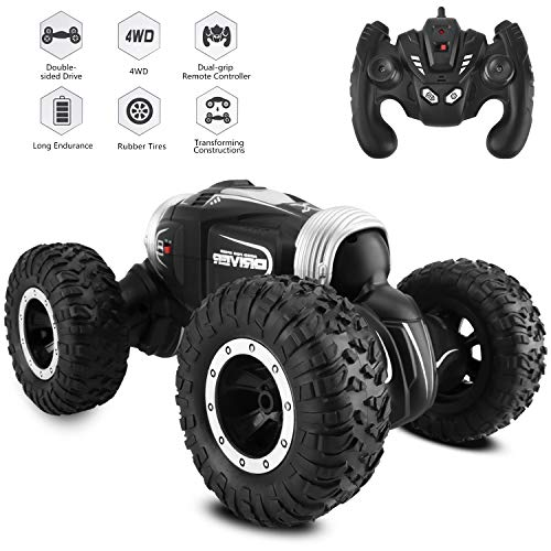 Arfbear Remote Control Car, 2019 Updated 1/16 Double-Side Flip Climbing Transforming Remote Control Truck with Rechargeable Batteries, RC Car for Kids (Black)