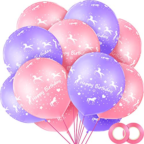 24 Piezas Globos de Happy Birthday con Unicornio 12 Pulgadas Globos de Látex de Unicornio con 2 Piezas Cintas de Globos Rosas para Decoración de Baby Shower Boda Fiesta Cumpleaños de Unicornio