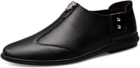 Mens Leather Shoes Slip on Loafers Shoes Breathable Driving Shoes Fashion