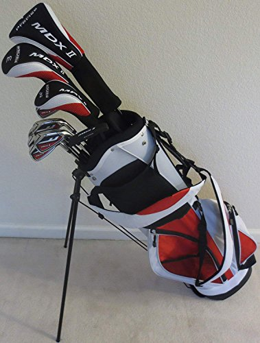 "Tall Mens Golf Set Complete - Right Handed Driver, Fairway Wood, Hybrid, Irons, Putter, Stand Bag Clubs +1"" Length Regular Flex"