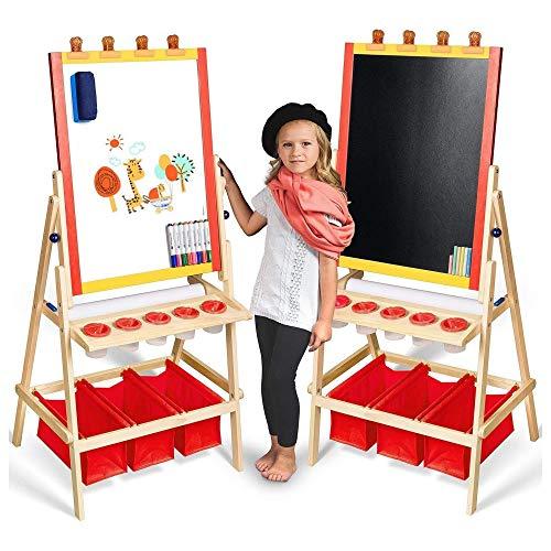 Kids Easel Childrens Wooden Art Easels for Artist Double Sided Chalkboard /...