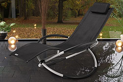 Casaria Relaxliege Neapel ergonomisch faltbar Schwungliege Schaukelsessel Sonnenliege Liege Gartenliege Relaxsessel schwarz