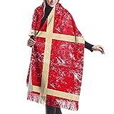 Tengyuntong Damen Wickeldecke Schal, Frauen Männer Dänemark Retro Flagge Kaschmir Schal Mode Schal Wickelschal Winter Warme Gemütliche Schals